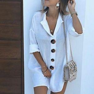 Zara white linen contrasting buttons shirt dress